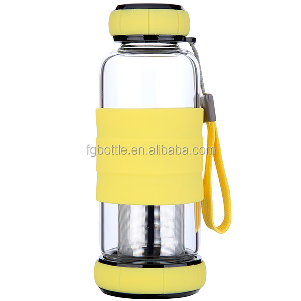 Multi Colored Single Wall Glass Water Bottle Drinking Cup
