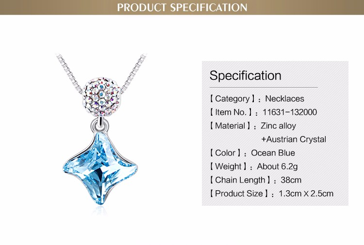 Fashion New Korean Style Light Blue Crystal Geometric Pendant 18K Rhodium Plated Women's Alloy Pretty Necklaces
