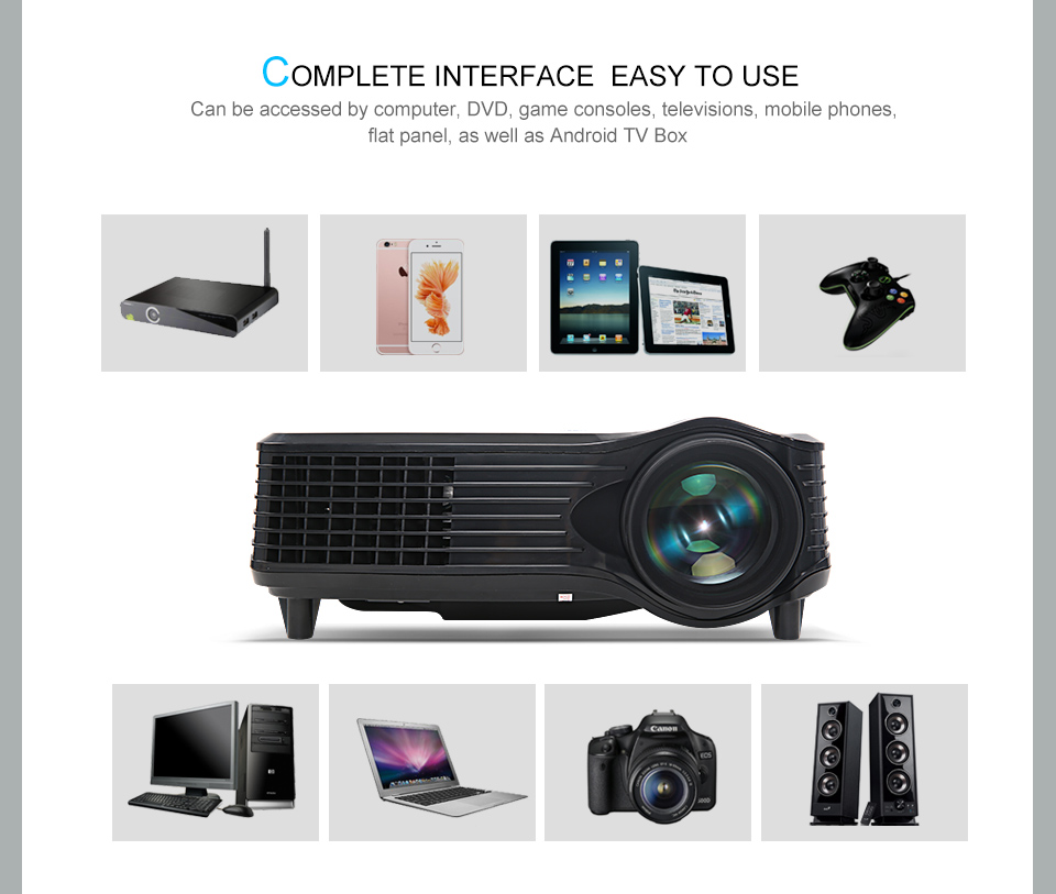 2k projector home theater , 80w lamp led projector with AV/SD/VGA/USB/HDMI port