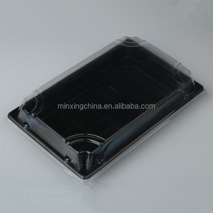 Black 1000ml pp plastic food tray with lid, black square disposable plastic sushi tray with lid