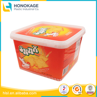 Plastic Collapsible Container for Food with Logo, Plastic Basket Handles And Lid for Cookie