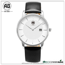 Simple no stitch flat genuine leather custom logo watches for men