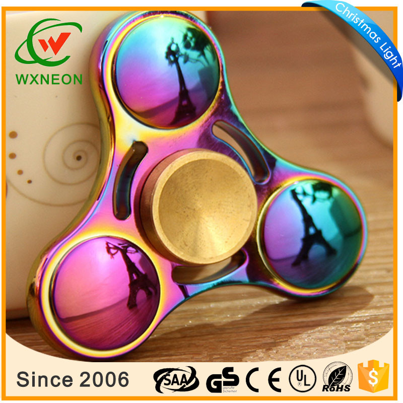 Rainbow Color Triangle Hand Fidget Spinner Relieve Stress High Speed Focus Toy