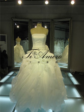 Bride After Party Dress Heavy Ruffle Flower Patterns Strapless Lace Up Diamond Belt Heart LIne Wedding Dresses