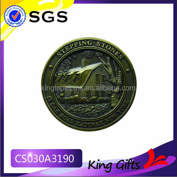 Custom stepping stones challenge coin with 3D building and tree logo