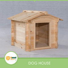 Natural Outdoor Gable Roof Rustic Wooden Dog Kennel