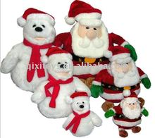 2011 soft stuffed plush christmas snowman and santa claus