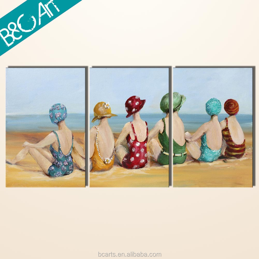 Beautiful seascape canvas painting triptych six woman on beach group oil painting
