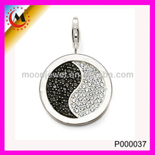 ANTIQUE CHINESE CZ PEDANT DESIGN,SILVER PLATED CRYSTAL PENDANT NECKLACE,YIN YANG PENDANT