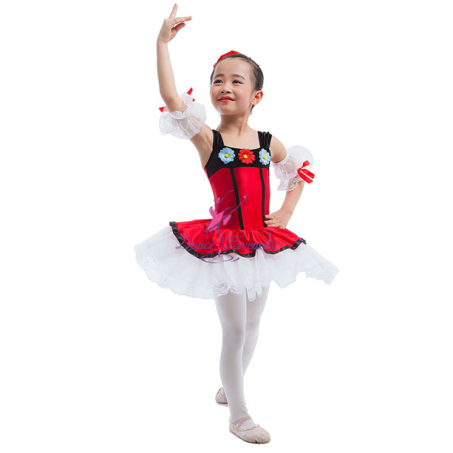 Dance Favourite Kids Red Satin Bodice Leotard attached Layers of White Tulle Ballet & Jazz Dance Performance Tutu Dress 16085