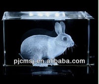 Funny 3d crystal laser engraving gifts,crystal rabbit for home decoration
