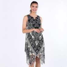 Bulk wholesale clothing fashion printed casual boho dress below the knee