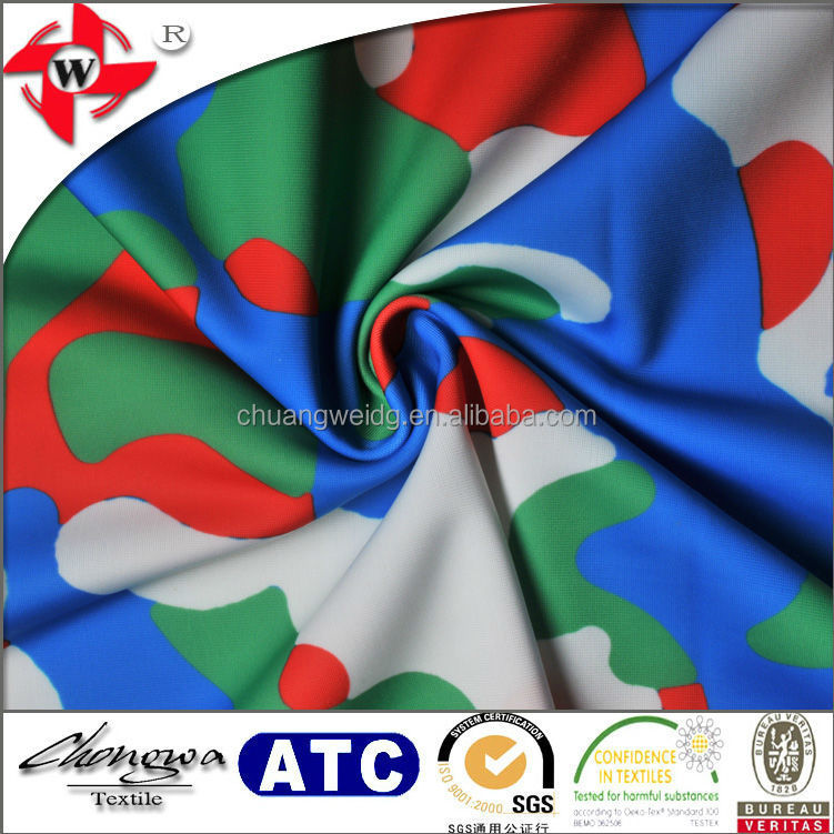 4 way stretch camouflage printing polyester lycra fabric for T-shirts