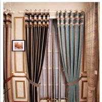High-end Coffee Chenille Blackout Lined Curtains For Window