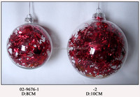 Hand Blown Clear Glass Christmas Tree Hanging Ball with Paillette inside