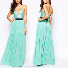 100% polyester high quality green tube prom dresses with deep v-neck, cold shoulder backless long free prom dress with sequin