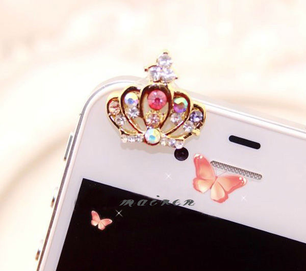 free shipping Rhinestone cellphone accessories earphone dust plug (XT-046)