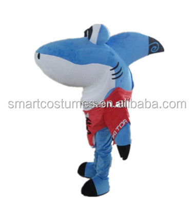 High quality shark mascot costume hot sale manufactory blue shark costume for adult