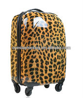 colorful printed hard luggage leopard print travel bag of square travel bag