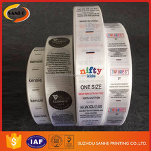 China Factory Price Custom Printed Washing Care Private Clothing Printing Main Labels