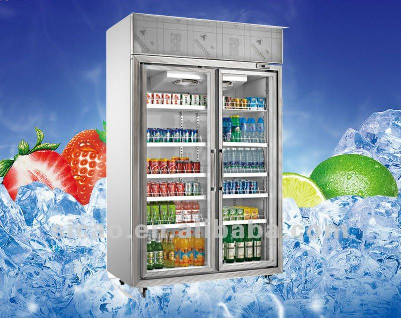 2 Glass Door 1150l Upright Commercial Draft Drink Display Freezer