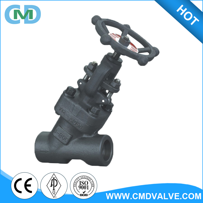 "China Y pattern Forged Steel SW A105N 1/4"" 1/2"" Water Globe Valve with Hand"