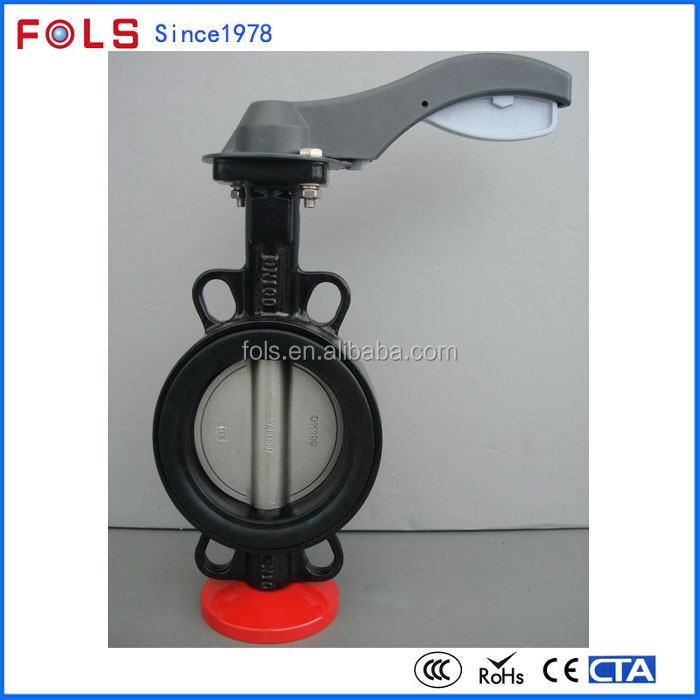 lever operation cast iron wafer type rubber seal butterfly valve
