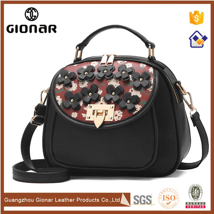 European Style Small Round Flower Decoration Handbags over the Shoulder