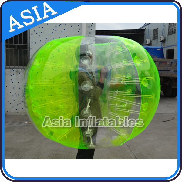 Most Popular Green and Orange Color Inflatable PVC Air Bumper ball, Body Zorbing Ball for sale