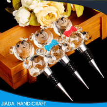 Wholesale wedding decoration cute crystal animal bear for wine bottle stopper