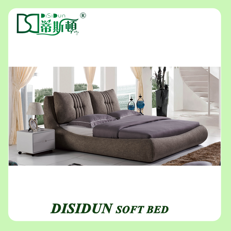 Latest Headboard Cushion Design Bedroom, Double Size Fabric Soft Cushion Bed