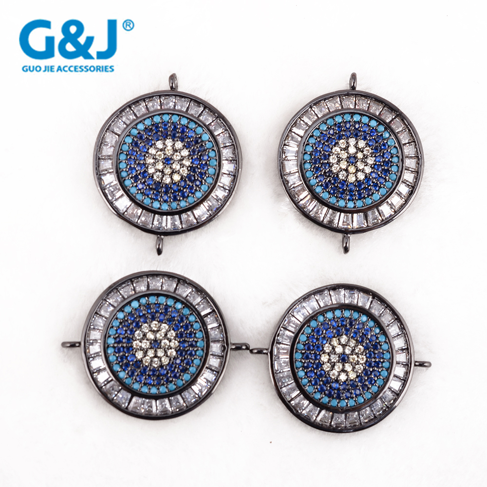 Guojie brand round shape micro pave cubic zircon jewellery necklaces fashion pendant