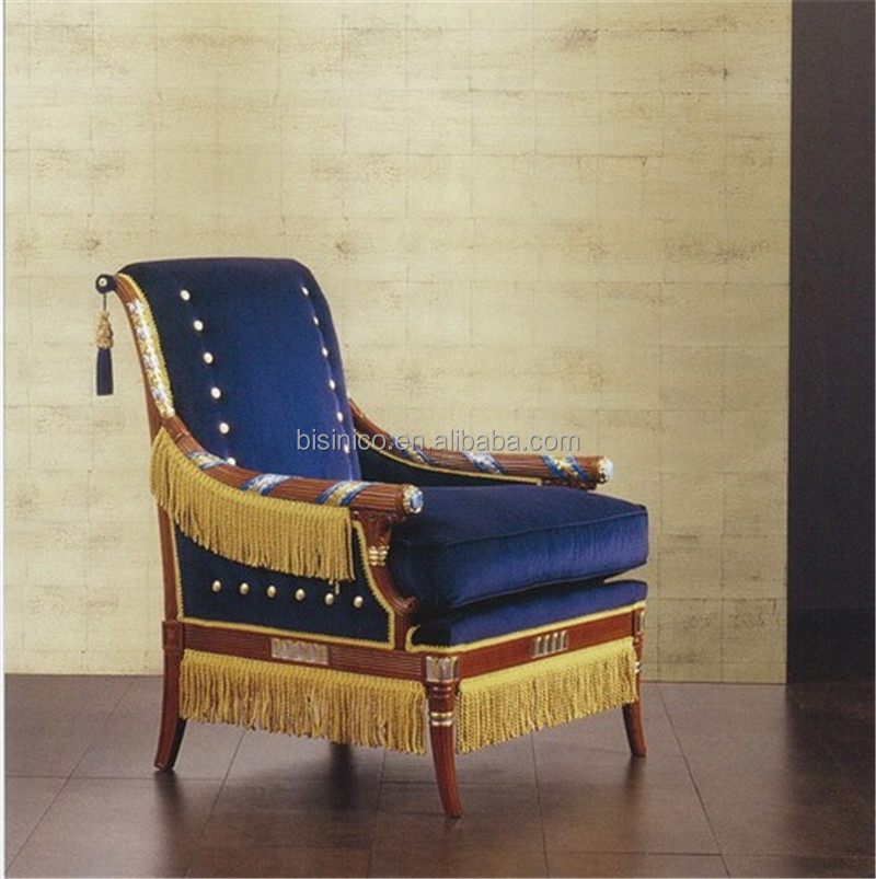 Emperial Navy Armchair, Luxury Mahogany Armchair with Fringes, Neo Classic Royal Design Armchair