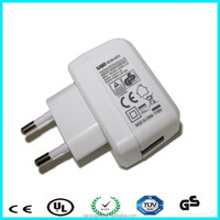 TUV 5V 1A white EU plug travel adapter USB power adapter for mobile phone