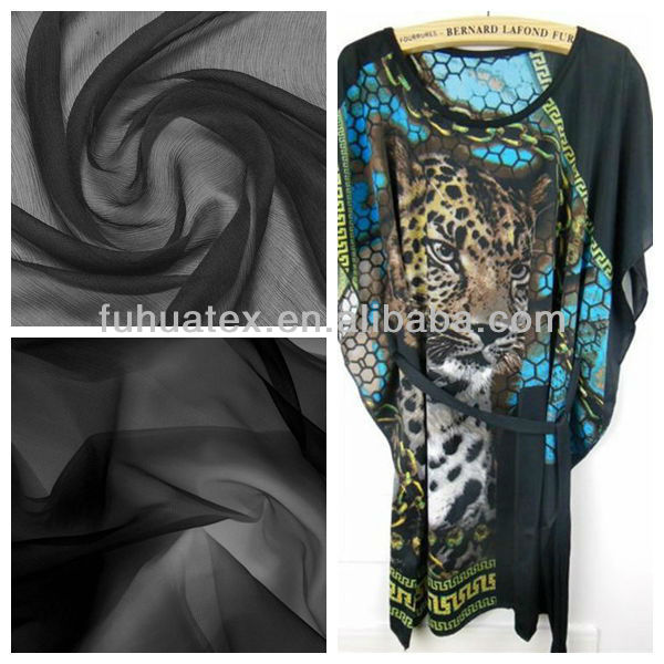 30D polyester black chiffon fabric digital printing