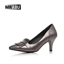black silver genuine leather fashion tassels thin heel ladies heels latest pumps japanese korean style office shoes for women