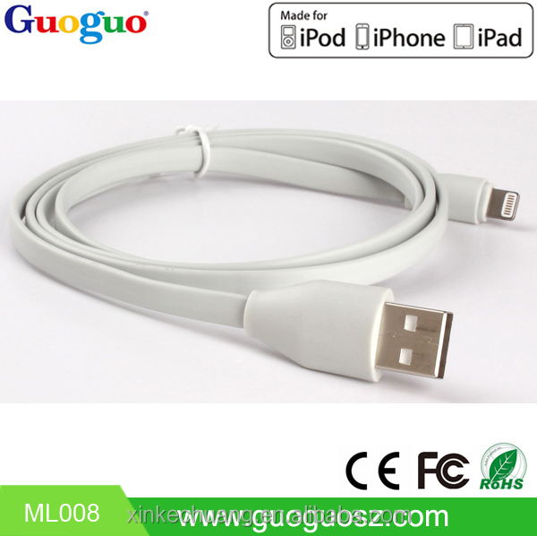 Hot sale MFI certified 1m 2m 3m original flat noodle cable with c48 connector for iphone 6 support ios 9.0 system