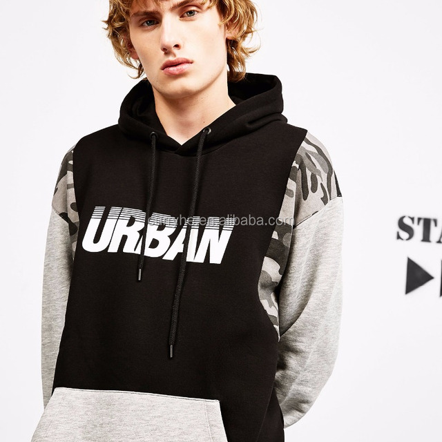 Top selling OEM Service casual comfortable pure cotton tone pullover fashion printed men hoodie with different colored sleeves