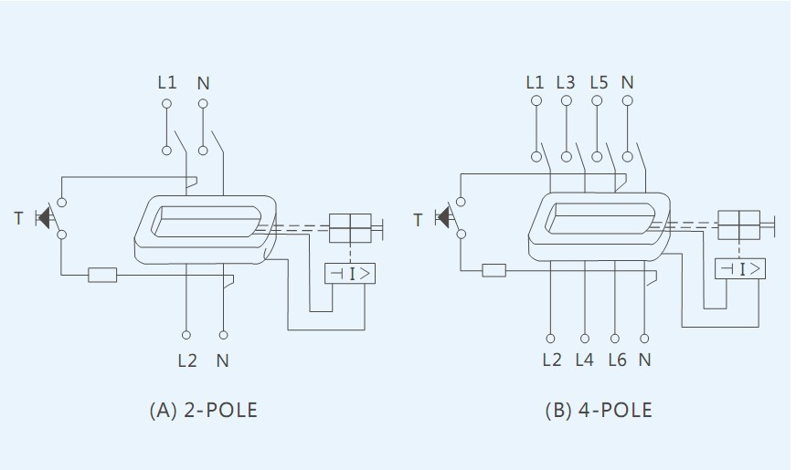 Wiring Diagram 4 Pole Rcd : A ac type ka electromagnetic ycl circuit breaker parts