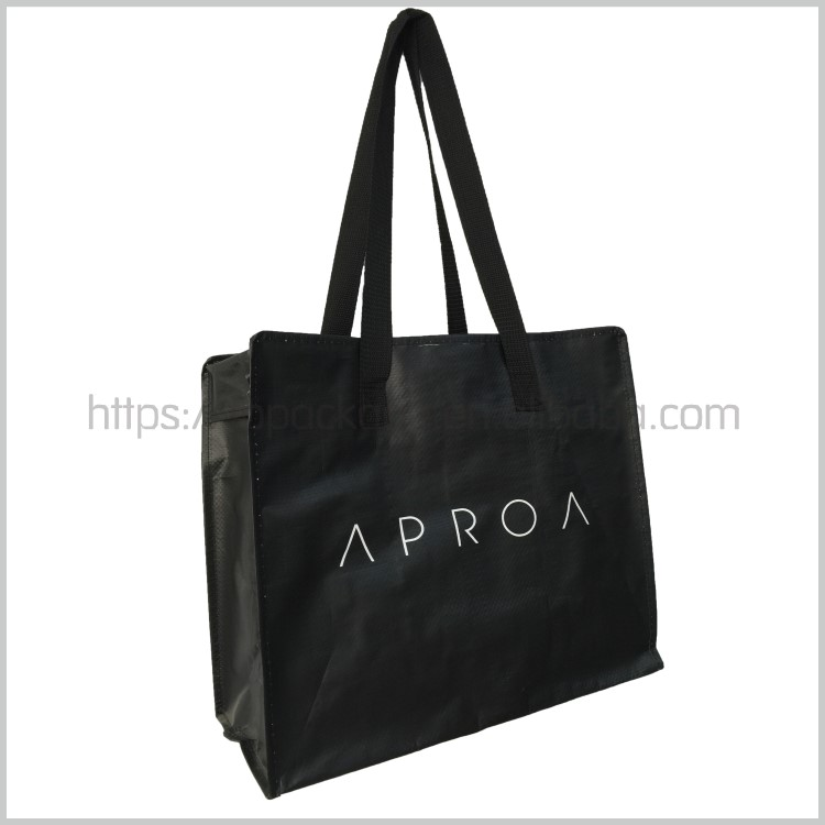 New fashion style black manufacturer factory price customized laminated pp woven shopping bag with zipper