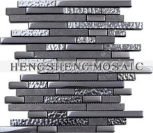 Electroplated strip glass marble mosiac mix stone crystal mosaic (HKS006)