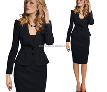 high quality Fashion Business women pants suit winter formal stripe long sleeve slim blazer and pants offeater Pencil Skirt Sets