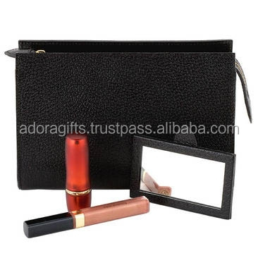 Personalized Leather Cosmetic Bag / black leather bags for makeups / wholesale pu leather cosmetic bags