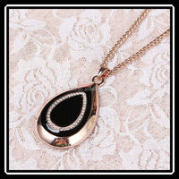 Cheap Price High Quality Simple Design Black Enamel Teardrop Shape Necklace Jewelry Accessories HHJ0079