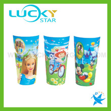 Novelty gifts 3D lenticular plastic PP cups for kids promotional drinking glass cartoon glass bottle water