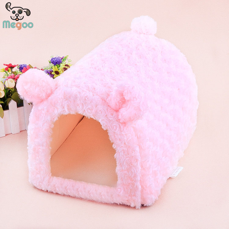 Romantic Pink Igloo Dog Bed Foam Padded Covered Princess Dog Bed House