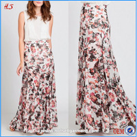 Floral printed pleated long skirt models latest design and flare long skirt frill for women