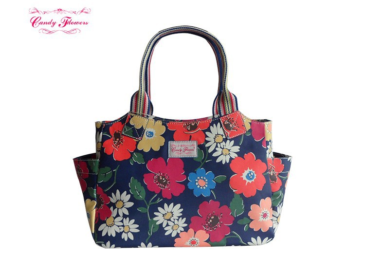 Two External Side Pocket Paradise Flowers Zipped Handbag