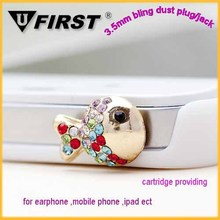 Bling crystal diamond animal anti dust earphone jack plug for iPhne 6