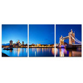 3 Panels HD Printed Tower Bridge Photo Canvas Prints Cityscape Night Scene of City Giclee Printing on Canvas/SJMT1891